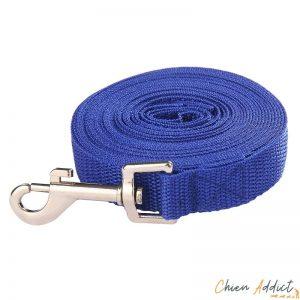 longe plate pour chien bleue